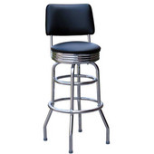 Richardson 30'' 50's Retro Revolving Counter Stool with Tubular Steel Frame and Grade 3 Vinyl Finishes