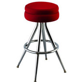 Richardson 30'' 1950's Style Backless Counter Stool with Black Base & Chrome Footrest, Grade 4 Vinyl Finishes