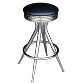 Richardson 30'' 1950's Style Backless Counter Stool with Black Base & Chrome Footrest, Grade 10 Vinyl Finishes