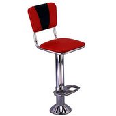Richardson Retro Bar Counter Stool on Pedestal Column with Upholstered Grade 3 Vinyl Swivel Seat and Back
