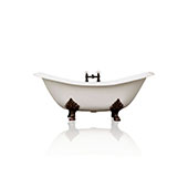 72'' White 'Winn' Clawfoot Bathtub, Antique Inspired, Cast Iron, Porcelain Finish, Double Slipper Bathtub Package