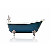 67'' Antique Inspired Hague Blue Cast Iron Porcelain Clawfoot Bathtub Flat Rim Slipper Bathtub Package Chrome Feet