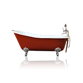 Incarnadine Red 67'' Antique Inspired Cast Iron Porcelain Clawfoot Bathtub Flat Rim Slipper Bathtub Package Chrome