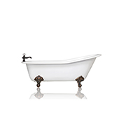 White 67'' Antique Inspired Cast Iron Porcelain Clawfoot Bathtub 5.5' Flat Rim Slipper Bathtub Package Bronze Feet