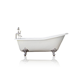 White 67'' Antique Inspired Cast Iron Porcelain Clawfoot Bathtub 5.5' Flat Rim Slipper Bathtub Package Chrome