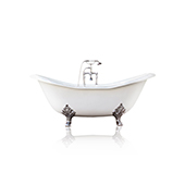 White 72'' Winn Cast Iron Porcelain Clawfoot Bathtub Package, Chrome Accents