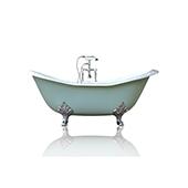 Green Blue 72'' Winn Cast Iron Porcelain Clawfoot Bathtub Package, Chrome Accents