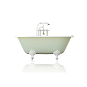 Mint Green 60'' Concordia Cast Iron Porcelain Clawfoot Bathtub Package, Antique Inspired Double Ended Tub
