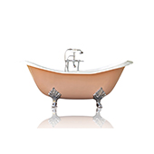 Pastel Pink 72'' Winn Cast Iron Porcelain Clawfoot Bathtub Package, Chrome Accents