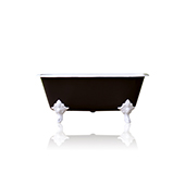 Edwardian Style Black Flat Rimmed 67'' Squared Double Cast Iron Porcelain Clawfoot Bathtub Original Finish