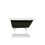 Antique Inspired 54'' Black Clawfoot Bathtub Cast Iron Original Porcelain White Feet Tub Package