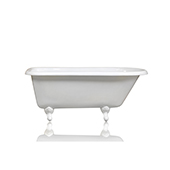 Antique Inspired 60'' White Clawfoot Bathtub Cast Iron Original Porcelain White Feet Tub Package