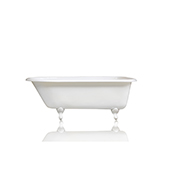 Antique Inspired 66'' White Clawfoot Bathtub Cast Iron Original Porcelain  White Feet Tub Package