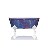 Square Cast Iron Clawfoot Bathtub, Trompe L'Oeil Antiqued Lagniappe Freestanding Clawfoot Tub, Degas Blue