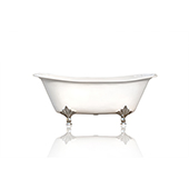 67'' Winn Antique Inspired Double Slipper Cast Iron Porcelain Clawfoot Bathtub, Chrome Deco Feet
