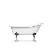 67'' White Cast Iron Porcelain Clawfoot Bathtub, Flat Rim Slipper Bathtub, Bronze Accents