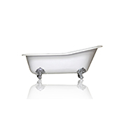 67'' White Cast Iron Porcelain Clawfoot Bathtub, Flat Rim Slipper Bathtub, Chrome Accents
