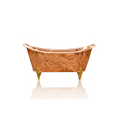 Large 67'' Double Slipper Antique Inspired Freestanding Natural Copper Clawfoot Bathtub