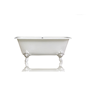 Edwardian Style White Flat Rimmed 67'' Squared Double Cast Iron Porcelain Clawfoot Bathtub