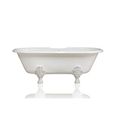 Double Ended 72'' White Antique Inspired Cast Iron Porcelain Clawfoot Bathtub Original Finish White Feet