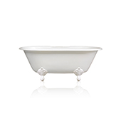 60'' White Cast Iron Porcelain Clawfoot Bathtub Double Ended White Accents