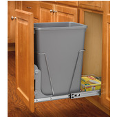 Rev-A-Shelf Ecomomy Pull-Out Metallic Silver Waste Bin With Rear Basket - 35 Quart (8.75 Gallons), Min. Cabinet Opening: 10-3/4''  Wide