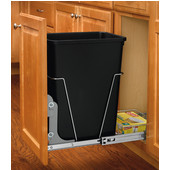 Rev-A-Shelf Ecomomy Pull-Out Black Waste Bin With Rear Basket - 35 Quart (8.75 Gallons), Min. Cabinet Opening: 10-3/4''  Wide
