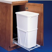 Rev-A-Shelf Single Pull-Out Waste Container With 3/4 Extension Slides, 12.5 Gallons (50 Quarts), Polymer, Min. Cabinet Opening: 11-3/8''  Wide