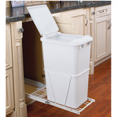 Rev-A-Shelf Single Pull-Out Waste Container With Lid and Full Extension Slides, 12.5 Gallons (50 Quarts), Polymer, Min. Cabinet Opening: 12-3/8''  Wide