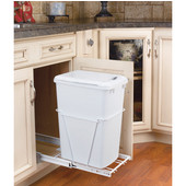 Rev-A-Shelf Single Bin Pull-Out Waste Container With Lid, 7 Gallons, 3/4 Extension Slides, Min. Cabinet Opening: 10-5/8''  Wide