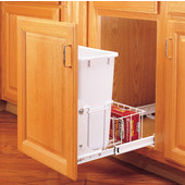Rev-A-Shelf Single Bin Pull-Out Waste Container With Rear Basket, 20 Quart (5 Gallon), Full Extension Slides, Min. Cabinet Opening: 14-3/4''  Wide