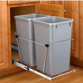 Rev-A-Shelf Double Bin Pull Out Container, 6.75 Gallons Each, Metallic Silver, Min. Cabinet Opening: 11-13/16''  Wide