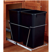 Rev-A-Shelf Dual 6.75 Gallon Chrome Pull Out Waste Container, Min. Cabinet Opening: 11-13/16''  Wide