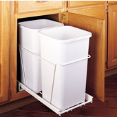 Rev-A-Shelf Double Bin Pull Out Container, 6.75 Gallons Each, White, Min. Cabinet Opening: 11-13/16''  Wide