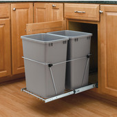Rev-A-Shelf Double Bin Pull Out Container, 8.75 Gallons Each, Metallic Silver, Min. Cabinet Opening: 14-3/8''  Wide