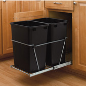 Rev-A-Shelf Dual 8.75 Gallon Chrome Pull Out Waste Container, Min. Cabinet Opening: 14-3/8''  Wide