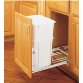 Rev-A-Shelf Single Bin Pull-Out Waste Container, 35 Quart (8.75 Gallon), 3/4 Extension Slides, Min. Cabinet Opening: 14-1/2'' Wide