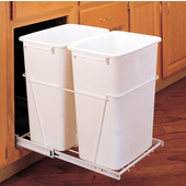 Rev-A-Shelf Double Bin Pull Out Container, 8.75 Gallons Each, White, Min. Cabinet Opening: 11-13/16''  Wide