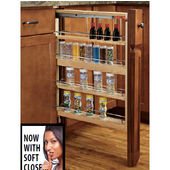 Rev-A-Shelf Pull-Out Kitchen Base Cabinet Filler with Blumotion Soft-Close Slides, Available 3'' - 9'' W