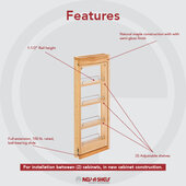 Rev-A-Shelf 3'' W Kitchen Wall Cabinet Filler Pull-Out Organizer, 39''H, with or without Soft-Close, Min Cab Opening: 3-1/8'' W x 11-3/8'' D x 39-1/8'' H