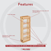 Rev-A-Shelf 6'' W Kitchen Wall Cabinet Filler Pull-Out Organizer, 36''H, with or without Soft-Close, Min Cab Opening: 6-1/8'' W x 11-3/8'' D x 36-1/8'' H