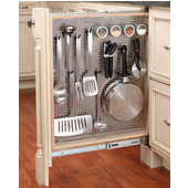 Rev-A-Shelf 3'' W Kitchen, Desk or Vanity Base Cabinet Pullout Filler Organizer w/ Perforated Accessory Hanging Panel, Min Cab Opening: 3-1/8'' W x 23-1/4'' D x 30-1/8'' H