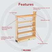Rev-A-Shelf Wood Pull-Out Organizer with Soft-Close Slides for Kitchen Base Cabinet, 5'' W x 21-5/8'' D x 25-1/2''-29-1/2'' H, Min Cab Opening: 5-1/8''W x 21-7/8''D x 25-5/8''H