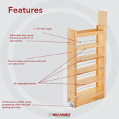 Rev-A-Shelf Tall Wood Pull-Out Pantry, 5''W x 51''H, with 5 Moveable Shelves, Min Cab Opening: 5-1/8''W x 22-1/4''D x 51''H