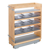 Rev-A-Shelf 8'' Base Height Vanity Grooming Pullout Organizer with 9 Storage Bins in Birch/Maple Wood, 8-3/8'' W x 19-1/2'' D x 25-1/2'' H