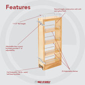 Rev-A-Shelf Kitchen Upper Cabinet Pull-Out Organizer w/ 3 Adjustable Shelves, 8''W x 10-3/4''D x 26-1/4''H, with Full-Extension Ball-Bearing Slides