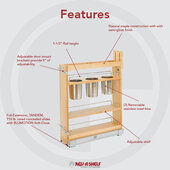 Rev-A-Shelf Base Cabinet Pullout Utensil Organizer with Blumotion Soft-Close, 5-7/16''W x 21-1/2''D x 25-1/2'' - 29-1/2''H, Min Cab Opening: 5-1/2''W x 21-3/4''D x 25-5/8''H