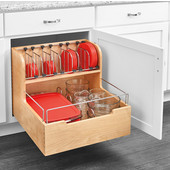 Rev-A-Shelf Base Cabinet Pullout Food Storage Container Organizer with Blum's TANDEM Heavy Duty Slides with BLUMOTION Soft Close, for 24'' Base Cabinet, 21-1/2''W x 21-9/16''D x 18-7/8''H, Min Cab Opening: 21'' W x 21-3/4'' D x 19'' H