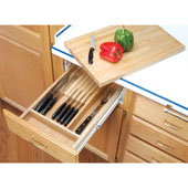 Rev-A-Shelf Kitchen Knife Block with Cutting Board Drawer System for 18'' Cabinets