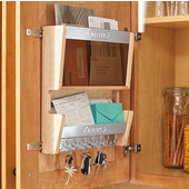 Rev-A-Shelf Door Storage Mail Organizer in Matte Chrome Finish, 13-1/2''W x 3-9/16''D x 15''H, Min Cab Opening: 14-1/2''W x 3-3/4''D x 15-1/4''H